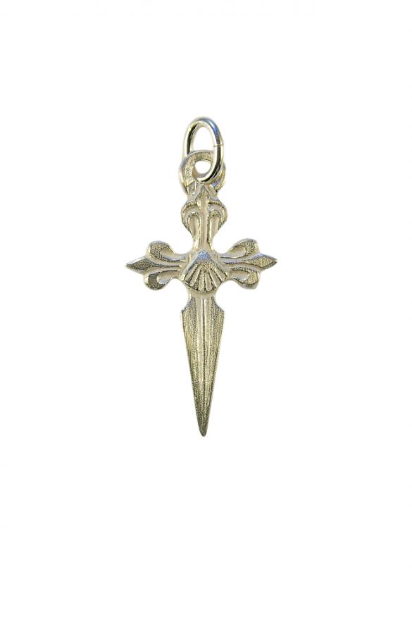 Croix de Saint-Jacques de Compostelle en pendentif, en argent massif.
