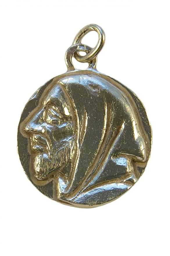 Médaille de saint Benoît en argent massif – le recto : portrait de saint Benoît