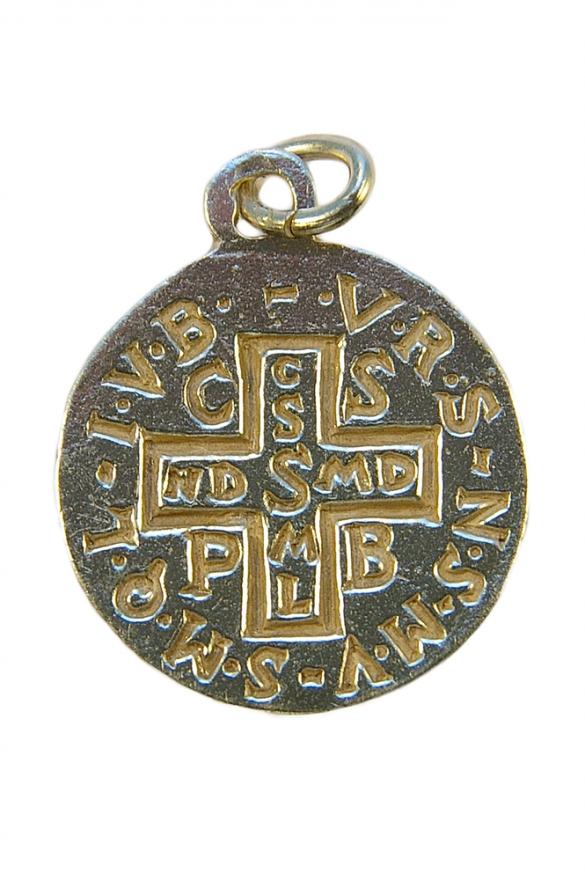 Médaille de saint Benoît en argent massif – le verso : croix de saint Benoît