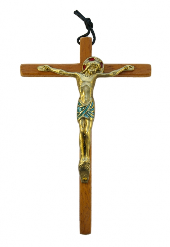 0112-Christ-email-vert-croix-bois-18cm