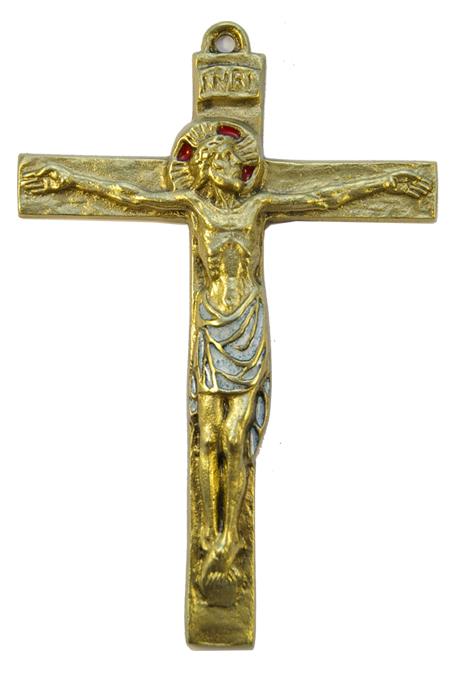 0115-Christ-INRI-croix-bronze-email-blanc-15cm