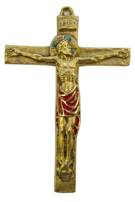 0115-Christ-INRI-croix-bronze-email-rouge-15cm