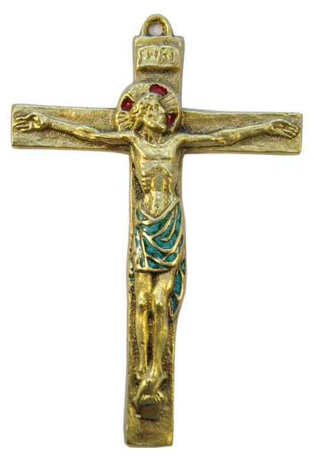0115-Christ-INRI-croix-bronze-email-vert-15cm