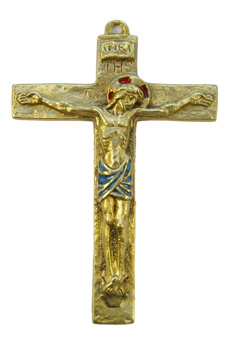 0116-Christ-croix-murale-latine-bleu-14cm