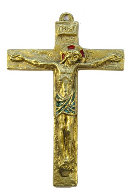 0116-Christ-croix-murale-latine-vert-14cm