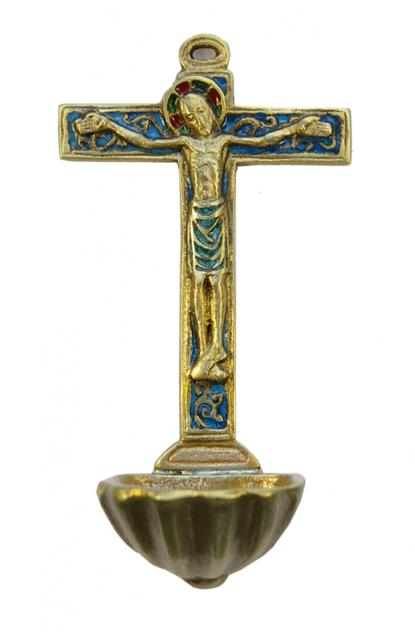 0130-Benitier-coquille-St-Jacques-crucifix-croix-bleu-15cm