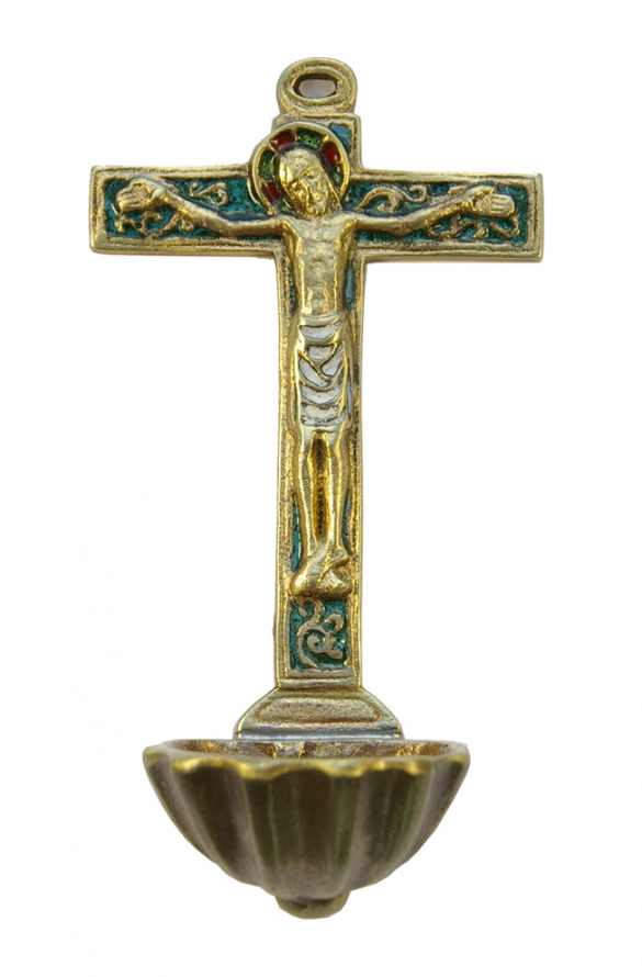 0130-Benitier-coquille-St-Jacques-crucifix-croix-vert-15cm