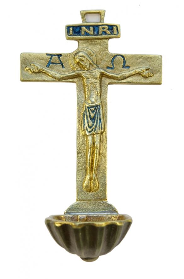 0131-Benitier-Christ-Alpha-Omega-INRI-croix-bleu-16cm