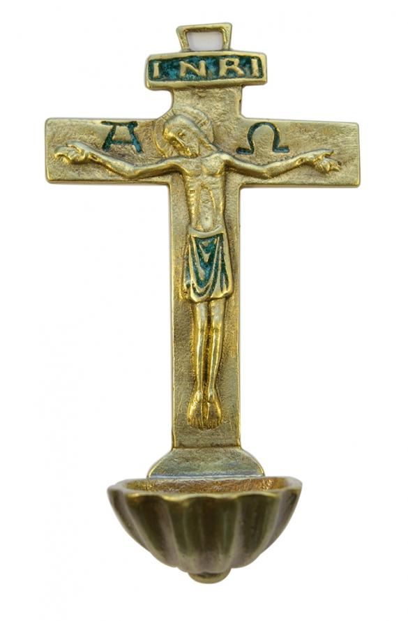 0131-Benitier-Christ-Alpha-Omega-INRI-croix-vert-16cm