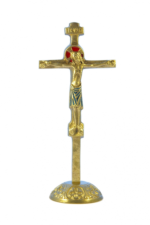 0135-Crucifix-bleu-socle-bronze-emaille-17cm