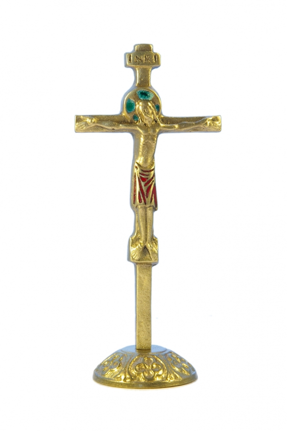 0135-Crucifix-rouge-socle-bronze-emaille-17cm
