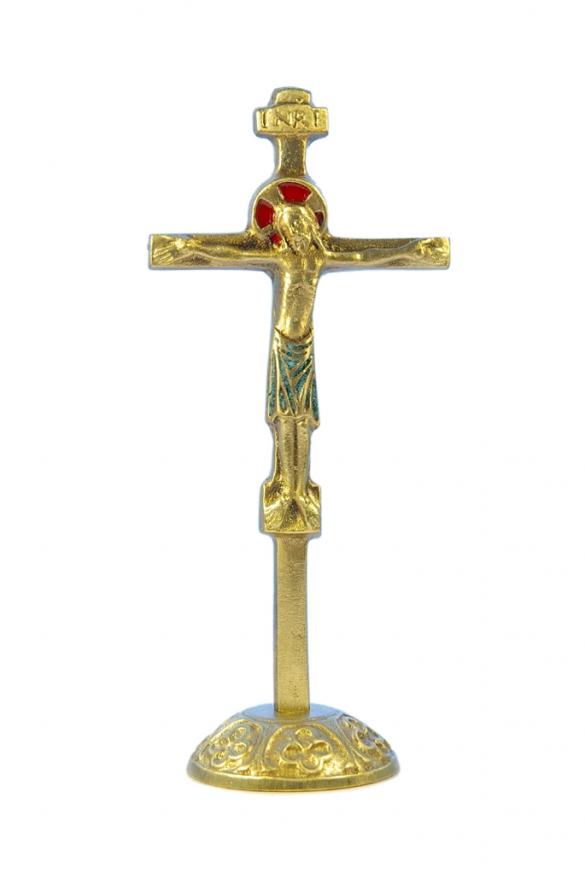 0135-Crucifix-vert-socle-bronze-emaille-17cm