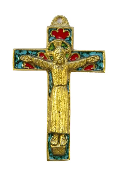 Christ roman en robe sur crucifix émaillé