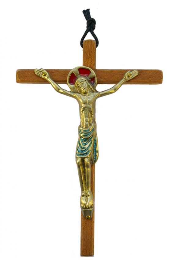 0152-19cm-vert-Christ-email-croix-bois