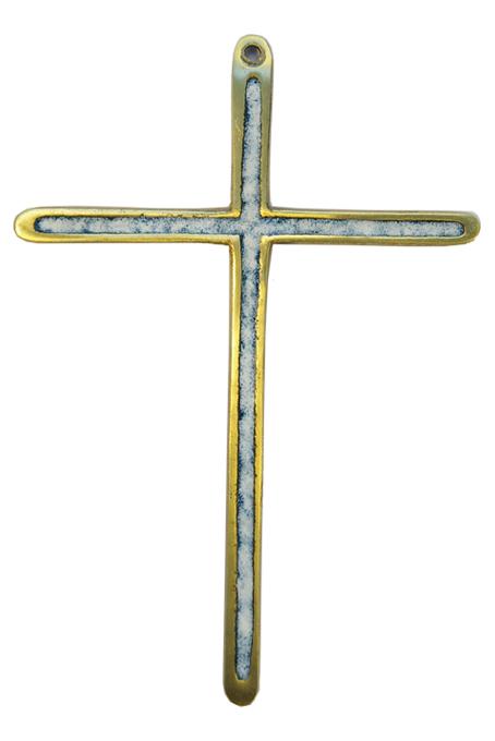 0188-Croix-bronze-emaille-blanc-14-5cm