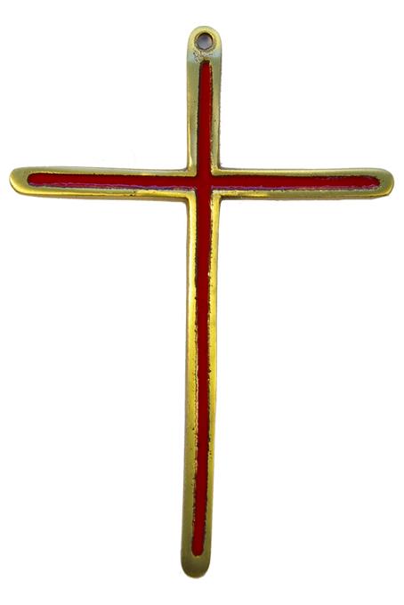 0188-Croix-bronze-emaille-rouge-14-5cm