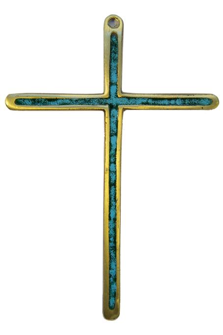 0188-Croix-bronze-emaille-vert-14-5cm