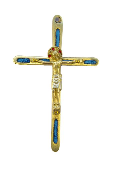 0189-210–Christ-croix-fine-emaux-bleu-bronze-12cm