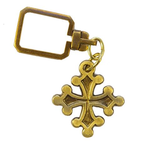 0200PC-Porte-clefs-croix-Toulouse-bronze-patine-3-8cm