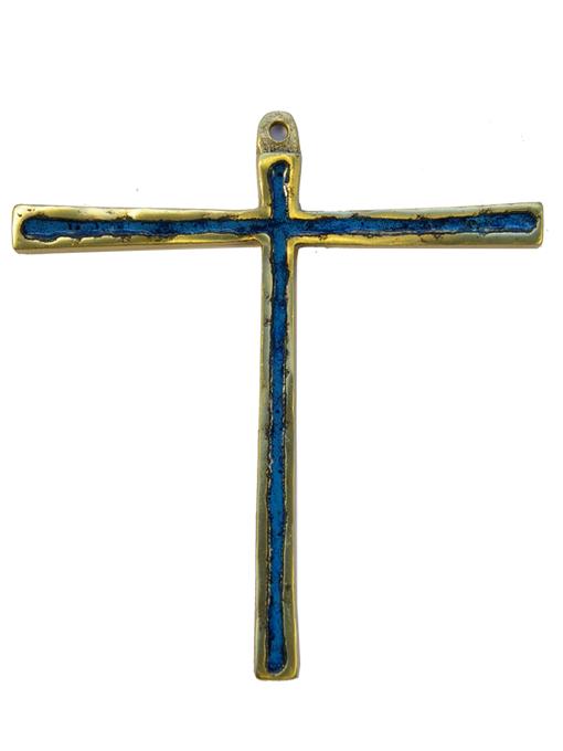 029-Croix-Tau-bronze-email-bleu-12cm
