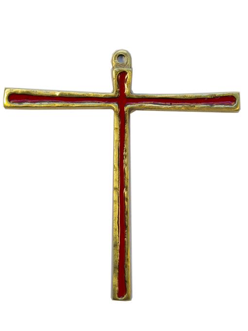 029-Croix-Tau-bronze-email-rouge-12cm