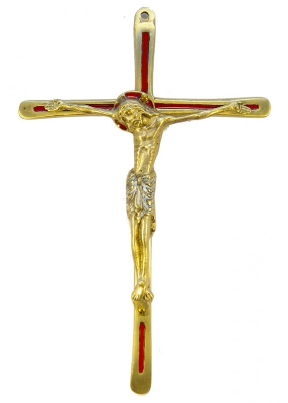 030-933-Christ-croix-email-rouge-bronze-19-5cm