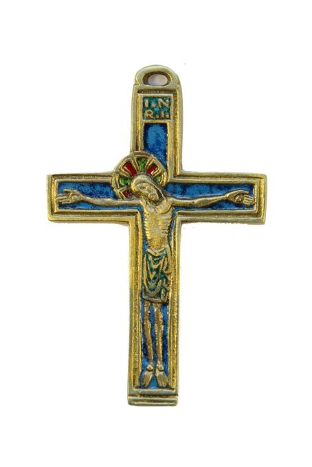 036-Crucifix-medieval-Christ-croix-bronze-email-bleu-11cm