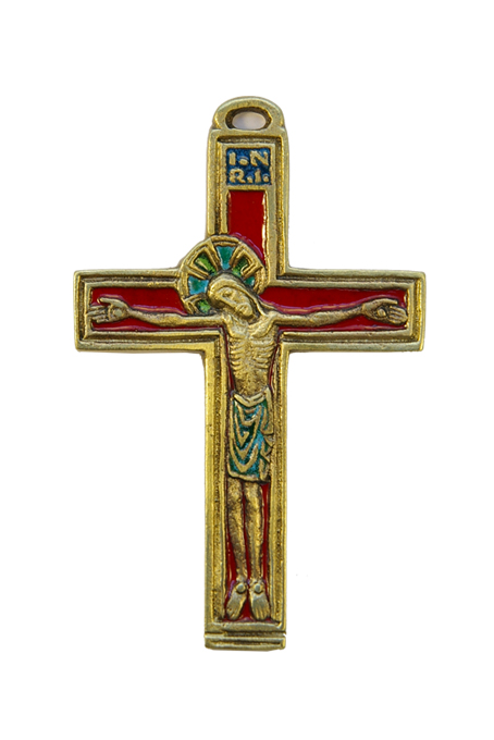 036-Crucifix-medieval-Christ-croix-bronze-email-rouge-11cm