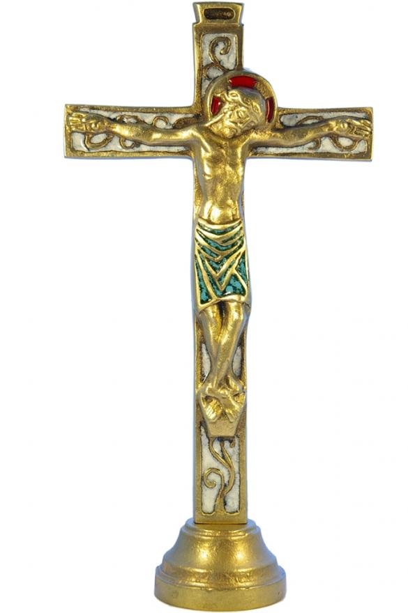 04SOCLE-Crucifix-blanc-socle-bronze-emaille-26cm