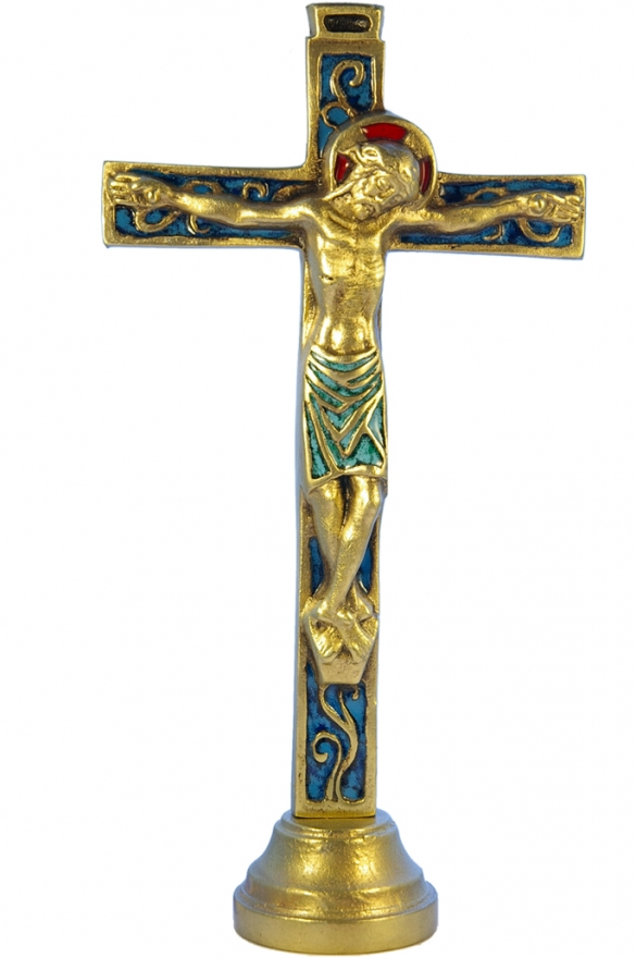 04SOCLE-Crucifix-bleu-socle-bronze-emaille-26cm