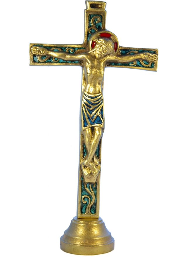04SOCLE-Crucifix-vert-socle-bronze-emaille-26cm