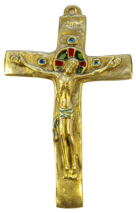 062-Crucifix-vert-bronze-croix-INRI-15-5-cm