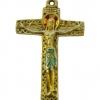 Crucifix travaillé d'inspiration médiévale, en bronze émaillé.
