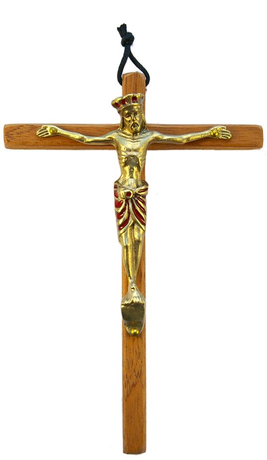 110-jesus-Christ-Majeste-crucifix-roi-rouge-croix-bois-18cm