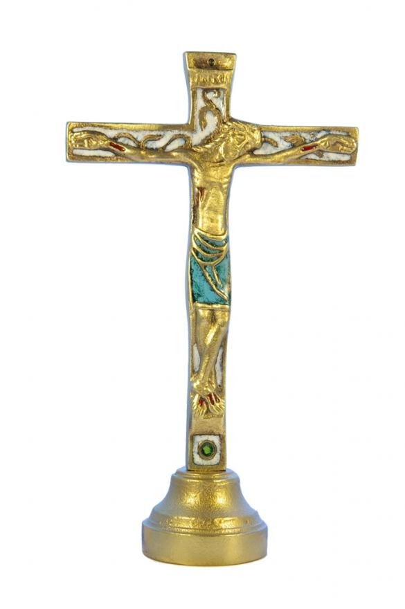 22SOCLE-Crucifix-blanc-socle-bronze-emaille-19cm