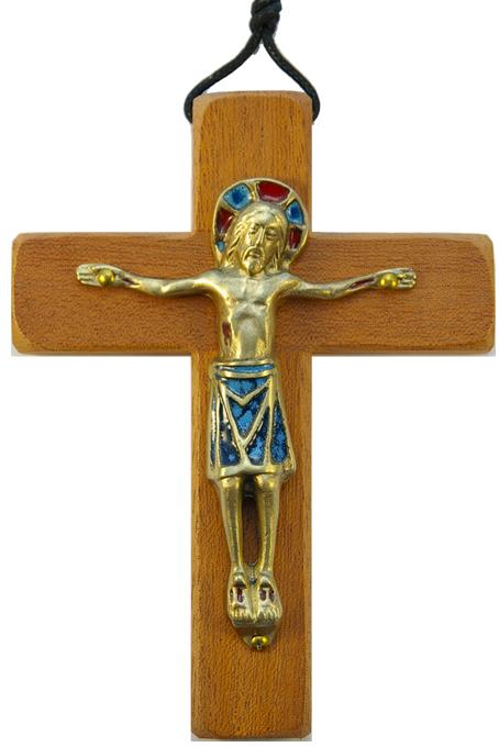 330-13-5cm-Christ-bleu-roman-croix-bois-4-variantes