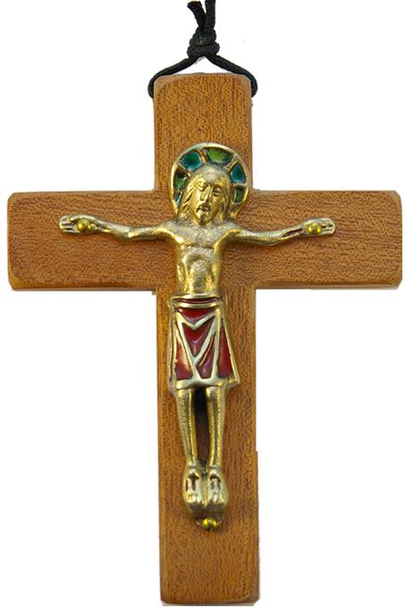 330-13-5cm-Christ-rouge-roman-croix-bois-4-variantes