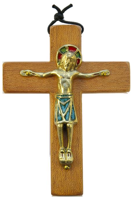 330-13-5cm-Christ-vert-roman-croix-bois-4-variantes