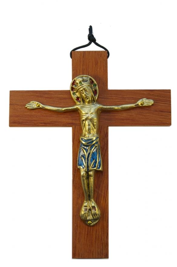 650-Christ-Majeste-Jesus-couronne-bleu-croix-bois-19cm