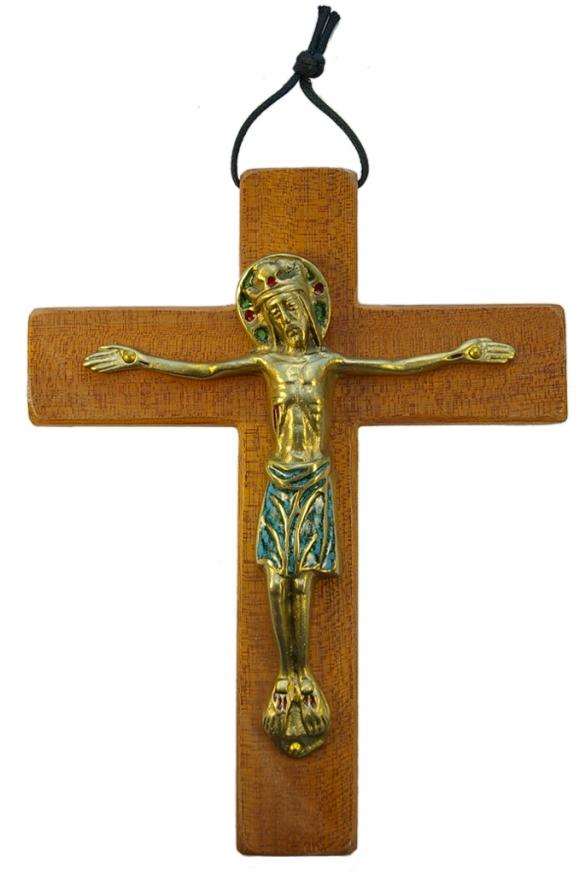 650-Christ-Majeste-Jesus-couronne-vert-croix-bois-19cm