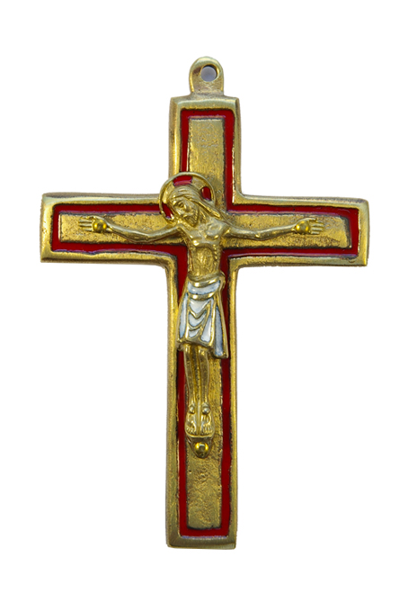 Crucifix roman sur double croix émaillée. Bronze & émaux grand feu.