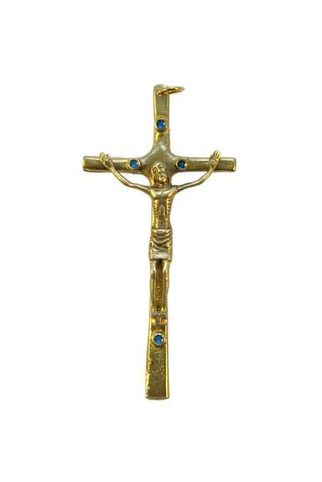 B11-945-Christ-patine-croix-emaillee-cabochon-bleu-9-2cm