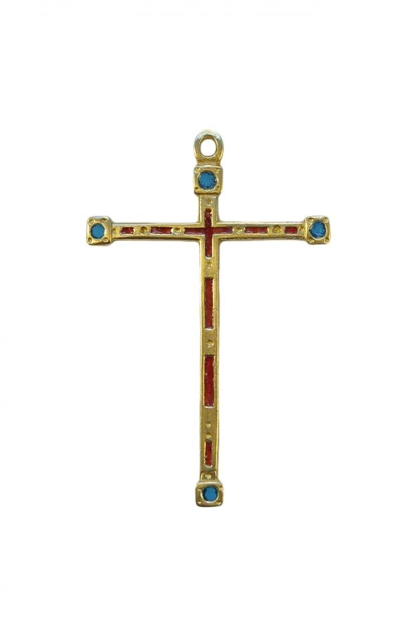 Croix médiévale fine en bronze émaillé