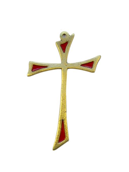 L13-Croix-murale-asymetrique-bronze-art-religieux-rouge-10cm