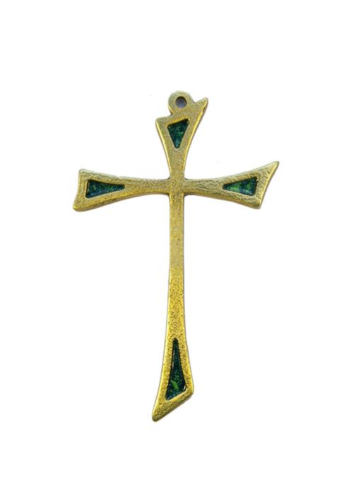 L13-Croix-murale-asymetrique-bronze-art-religieux-vert-10cm