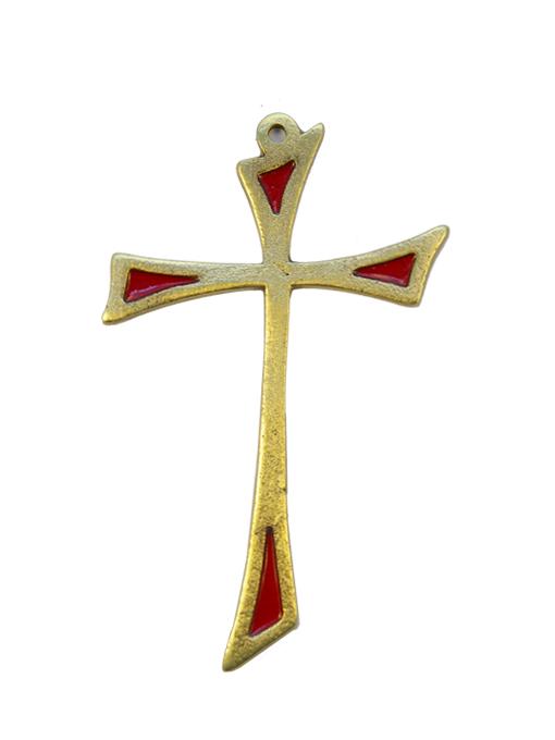 L14-Croix-murale-asymetrique-bronze-art-religieux-rouge-12cm