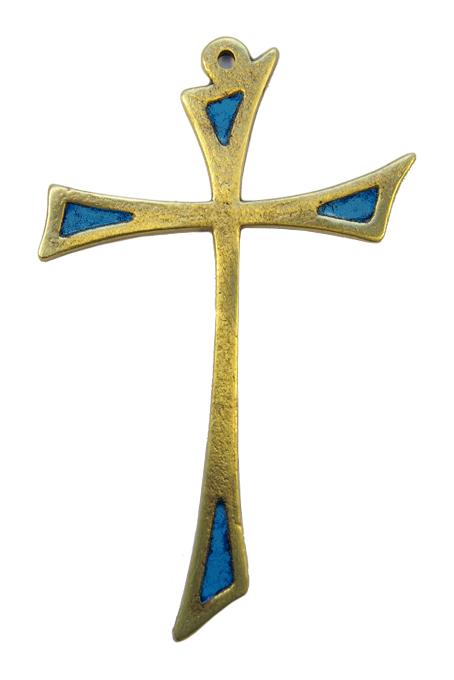 L15-Croix-murale-asymetrique-bronze-art-religieux-bleu-14cm