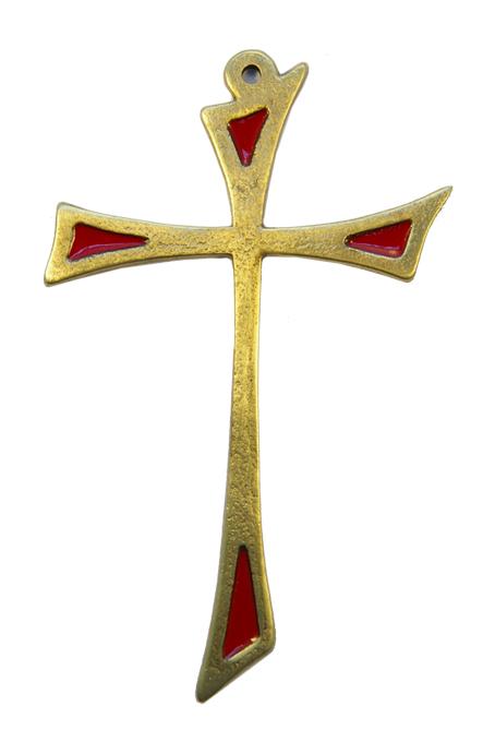 L15-Croix-murale-asymetrique-bronze-art-religieux-rouge-14cm
