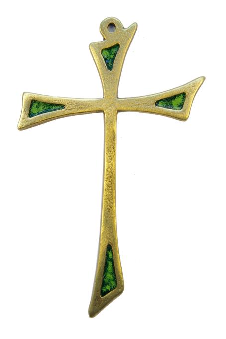 L15-Croix-murale-asymetrique-bronze-art-religieux-vert-14cm