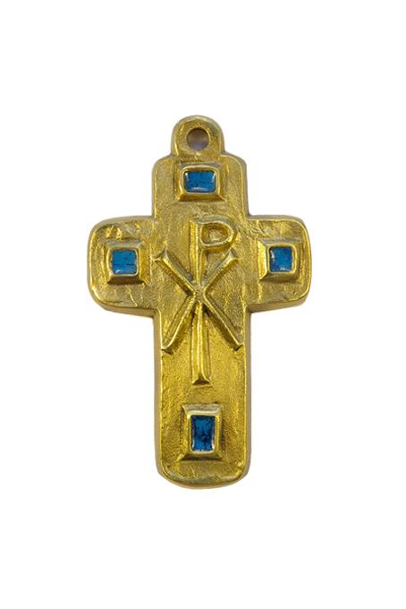 L24-Cabochons-emaux-Chrisme-croix-murale-bleu-9-5cm